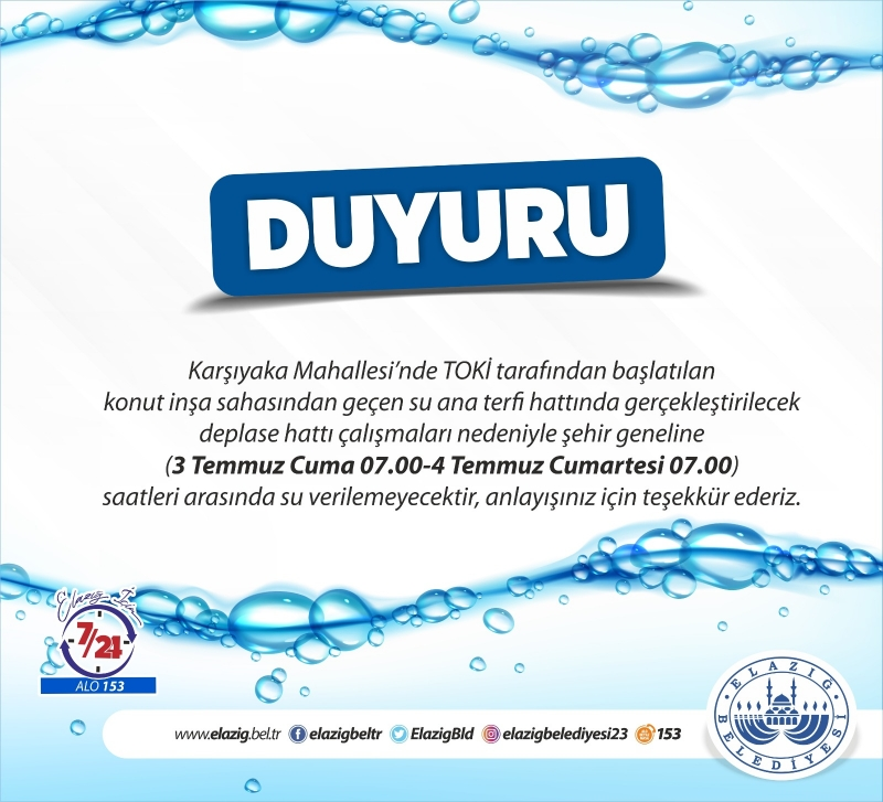3-4 Temmuz araları su kesintileri olacak