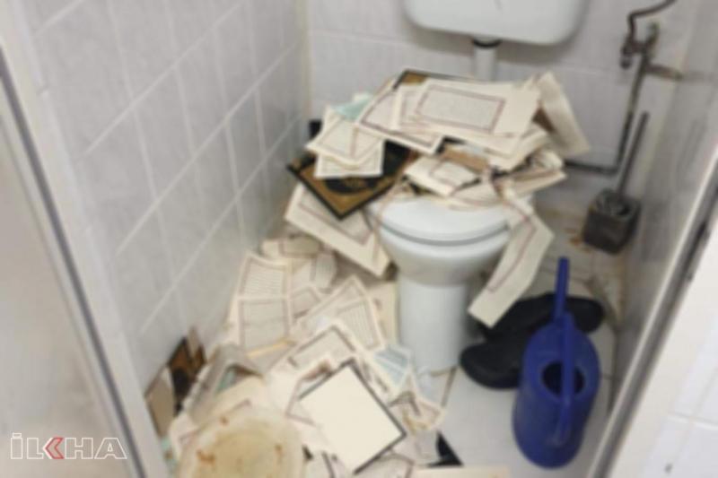 Almanya'da skandal olay: Kur'anları yırtıp tuvalete attılar-VİDEO