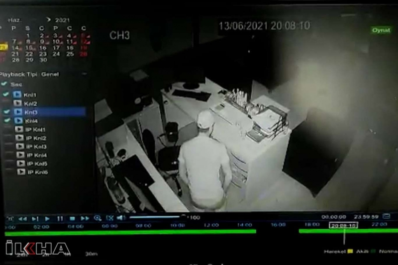 Bir gecede aynı işyerine 2 kez giren hırsızlar kameralara yakalandı